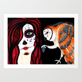 Owl & Death Art Print