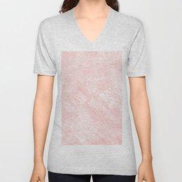 Blush pink white elegant modern marble Unisex V-Neck