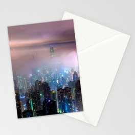 Awesome Cityscape View Of Skyscrapers Breaking Through Clouds At Night Purple Shade Ultra HD Stationery Cards