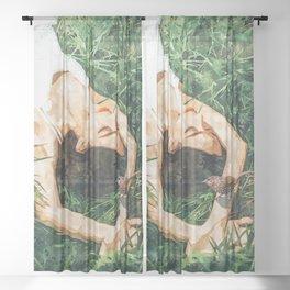 Jungle Vacay #painting #portrait Sheer Curtain