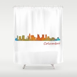 Columbus Ohio, City Skyline, watercolor  Cityscape Hq v1 Shower Curtain
