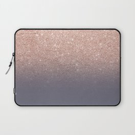 Modern faux rose gold glitter ombre gradient on purple grey Laptop Sleeve