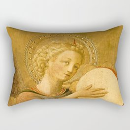 """Fra Angelico (Guido di Pietro) """"Music-making angel, Detail from the Linaioli Tabernacle"""" 8. Rectangular Pillow"""