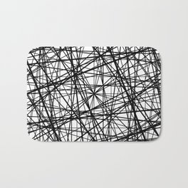 Geometric Collision - Abstract black and white Bath Mat