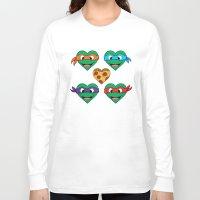 ninja turtle Long Sleeve T-shirts featuring Ninja Turtle Hearts by Sam Skyler