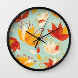 Whimsical Abstract Colorful Lily Flower Pattern Wall Clock