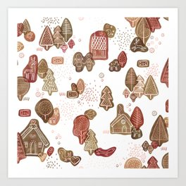 Hansel and Gretel Fairy Tale Gingerbread Pattern on White Art Print