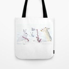 White rabbits dancing around red erica in snow mountain. Tote Bag