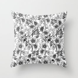 Hollyhock and Burdock in black and white Throw Pillow
