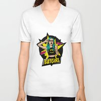 batgirl V-neck T-shirts featuring Batgirl by viviennart