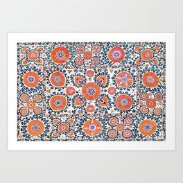 Shakhrisyabz  Suzani  Antique Uzbekistan Print Art Print