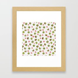 Kiwis with blush pink flowers and black dots watercolor Framed Art Print