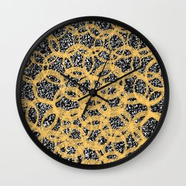 Abstract Beehive Yellow & Black Pattern Wall Clock