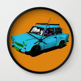 Trabant blue pop Wall Clock