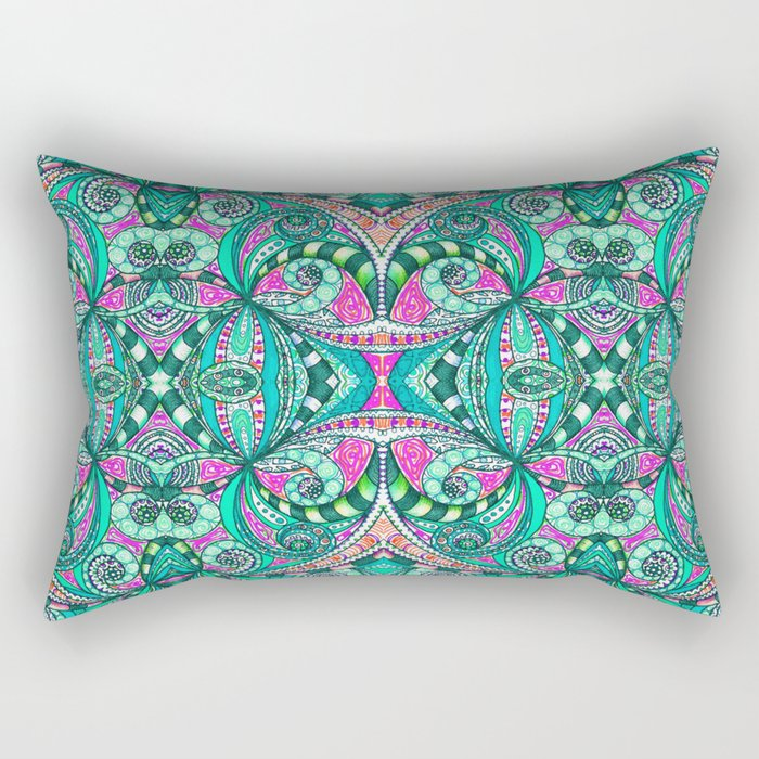 Drawing Floral Zentangle G207 Rectangular Pillow