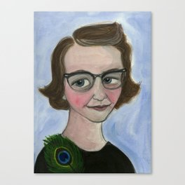 "Flannery O'Connor Art Print, Literary Portrait (6x8) ""A Good Flannery is Hard to Find"" Canvas Print"