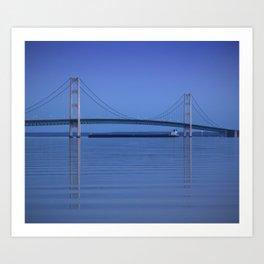 The Mackinac Bridge & the Great Lakes Freighter Art Print