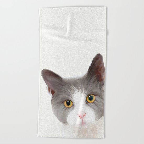 Cat with Yellow Eyes Beach Towel