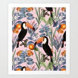 Tucan Garden #pattern #illustration Art Print