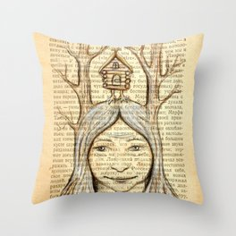 Baba Yaga on an old book page Throw Pillow