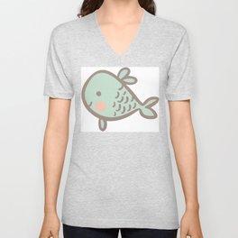 Cute Vintage Style Sea life Seamless Pattern Unisex V-Neck