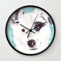 border collie Wall Clocks featuring Border collie by Art by Frydendal