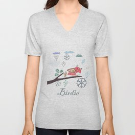 Cute Winter Icon with a birdie. Hand Drawn Scandinavian Style Unisex V-Neck