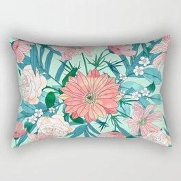 Boho chic spring garden flowers illustration Rectangular Pillow