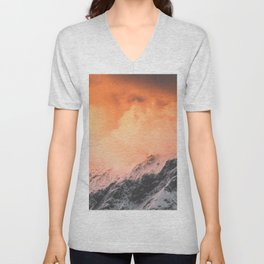 Sunset over Mount Aspiring Unisex V-Neck