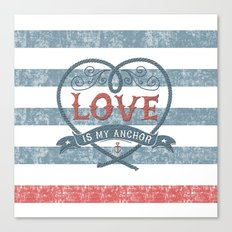 Maritime Design- Love is my anchor on navy blue and red striped background Canvas Print