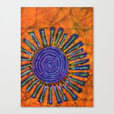 Orange and purple Floral batik Canvas Print