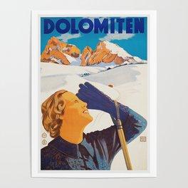 Vintage Dolomites Mountains Italy Travel Poster Poster