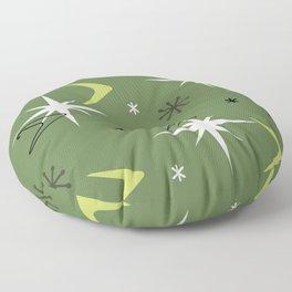 Vintage 1950s Boomerangs Stars Olive Green Floor Pillow