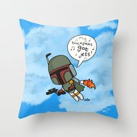 boba Throw Pillows featuring boba by kaylieghkartoons