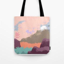 Pink Sky Mountain Tote Bag