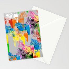 POP ART Dala horses - colorful Scandinavian Christmas pattern Stationery Cards