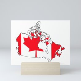 Canada Map with Canadian Flag Mini Art Print