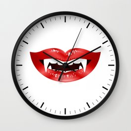 Vampire Mouth Illustration With Red Lips And Fangs Wall Clock
