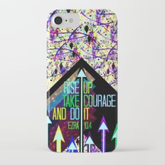 RISE UP TAKE COURAGE AND DO IT Colorful Geometric Floral Abstract Painting Christian Bible Scripture Slim Case iPhone 7
