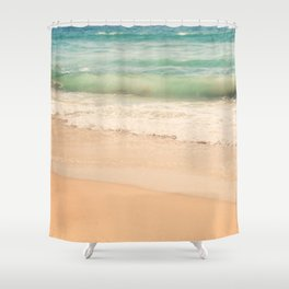 beach. Sea Glass ocean wave photograph. Shower Curtain