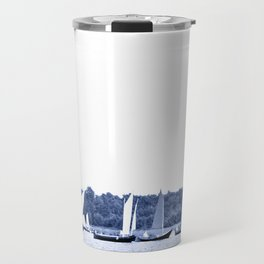 Dutch sailing boats in Delft Blue colors Travel Mug