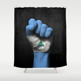 Nicaraguan Flag on a Raised Clenched Fist Shower Curtain