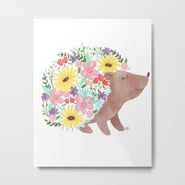 Flowering Hedgehog Metal Print