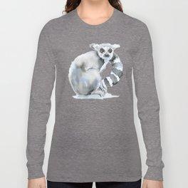 Ring-tailed Lemur Watercolor Long Sleeve T-shirt