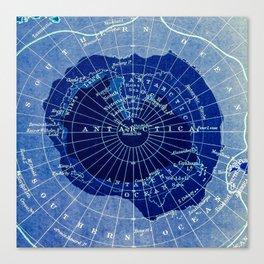 South Pole Neon Map Canvas Print