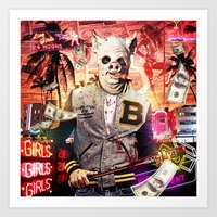 hotline miami Art Prints featuring Night Out: Hotline Miami by GiancarloVargas