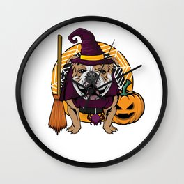 Witch Bulldog Dog Costume For Spooky Halloween Wall Clock