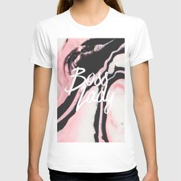 Boss Lady Pink Black Painted Marble T-shirt