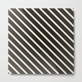 Molasses Diagonal Stripes Metal Print
