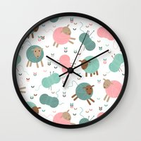knitting Wall Clocks featuring Knitting sheep by Heleen van Buul